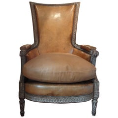 Antique French Louis XVI Style Bergère with Distressed Leather Upholstery