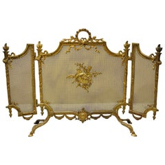 Antique French Louis XVI Style Bronze 3 Section Folding Fire Screen Flame Torch