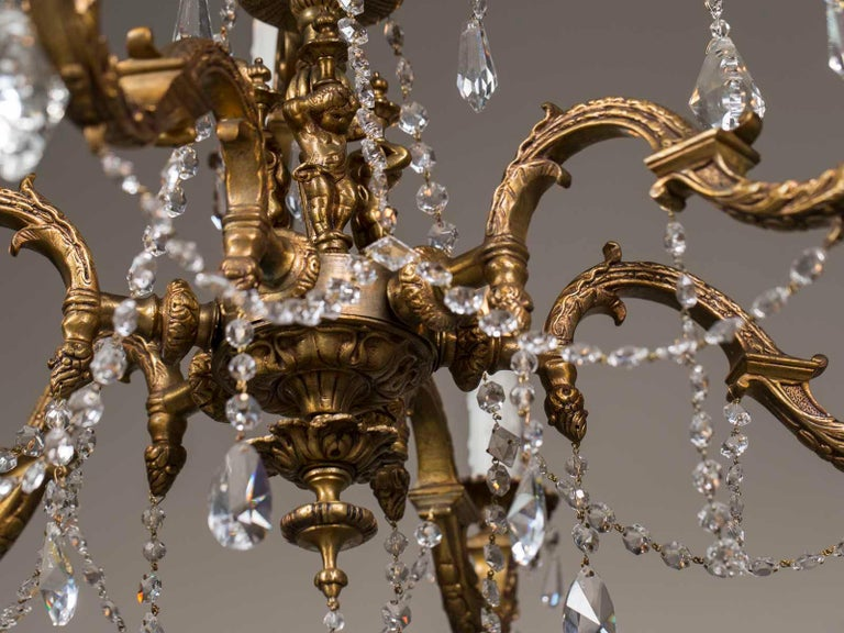 Antique French Louis XVI Style Bronze Crystal Two-Tier Chandelier, circa 1890 For Sale 7