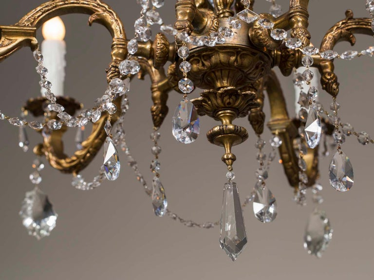 Antique French Louis XVI Style Bronze Crystal Two-Tier Chandelier, circa 1890 For Sale 8