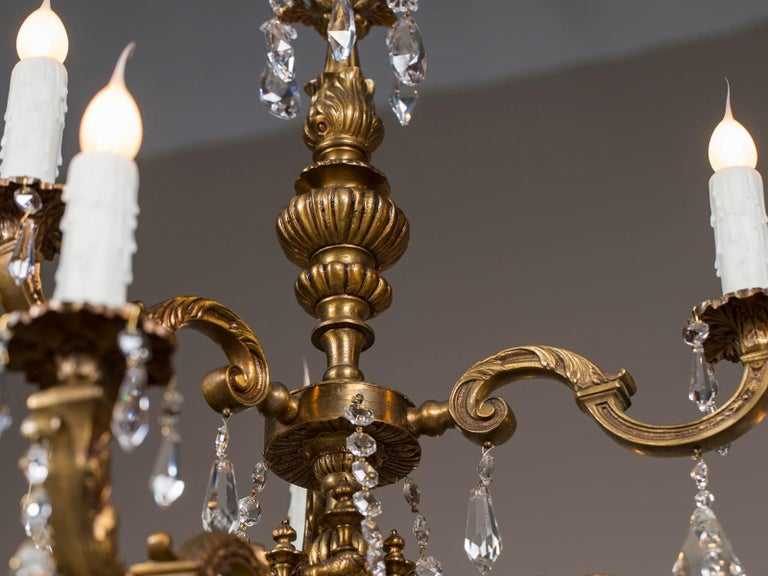 Antique French Louis XVI Style Bronze Crystal Two-Tier Chandelier, circa 1890 In Good Condition For Sale In Houston, TX