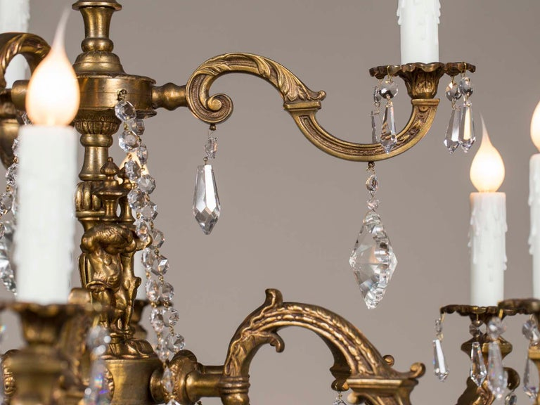 Late 19th Century Antique French Louis XVI Style Bronze Crystal Two-Tier Chandelier, circa 1890 For Sale