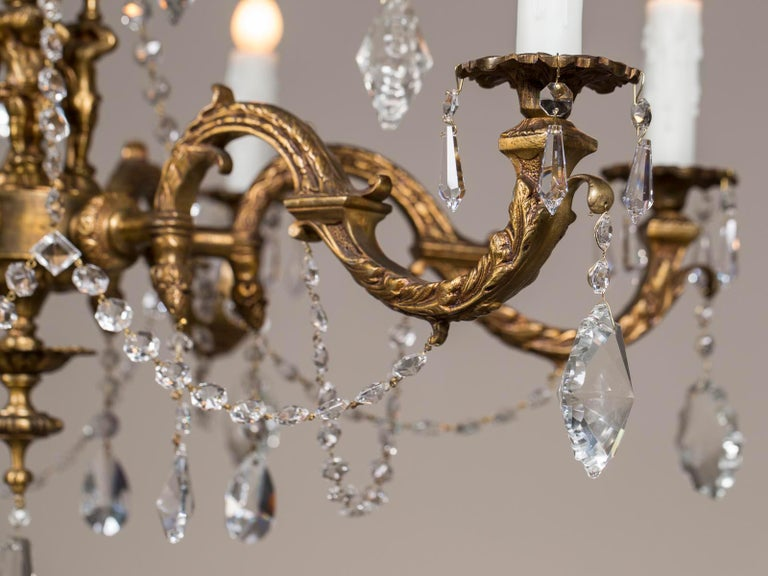 Antique French Louis XVI Style Bronze Crystal Two-Tier Chandelier, circa 1890 For Sale 1