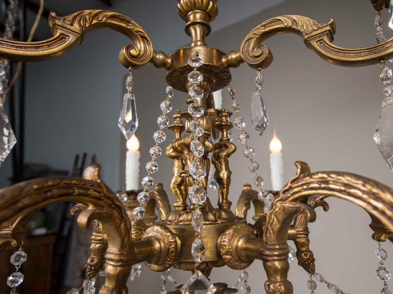 Antique French Louis XVI Style Bronze Crystal Two-Tier Chandelier, circa 1890 For Sale 2