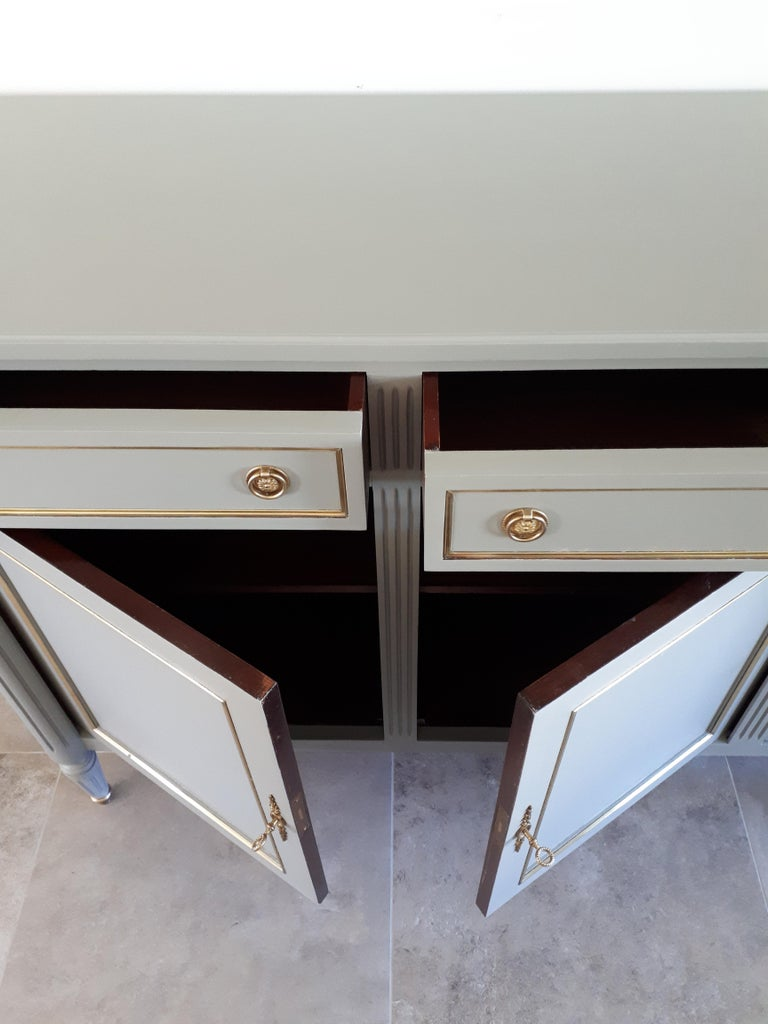 Carrara Marble Antique French Louis XVI Style Buffet For Sale