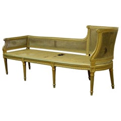 Antique French Louis XVI Style Cane Chaise Lounge Recamier Fainting Couch Sofa