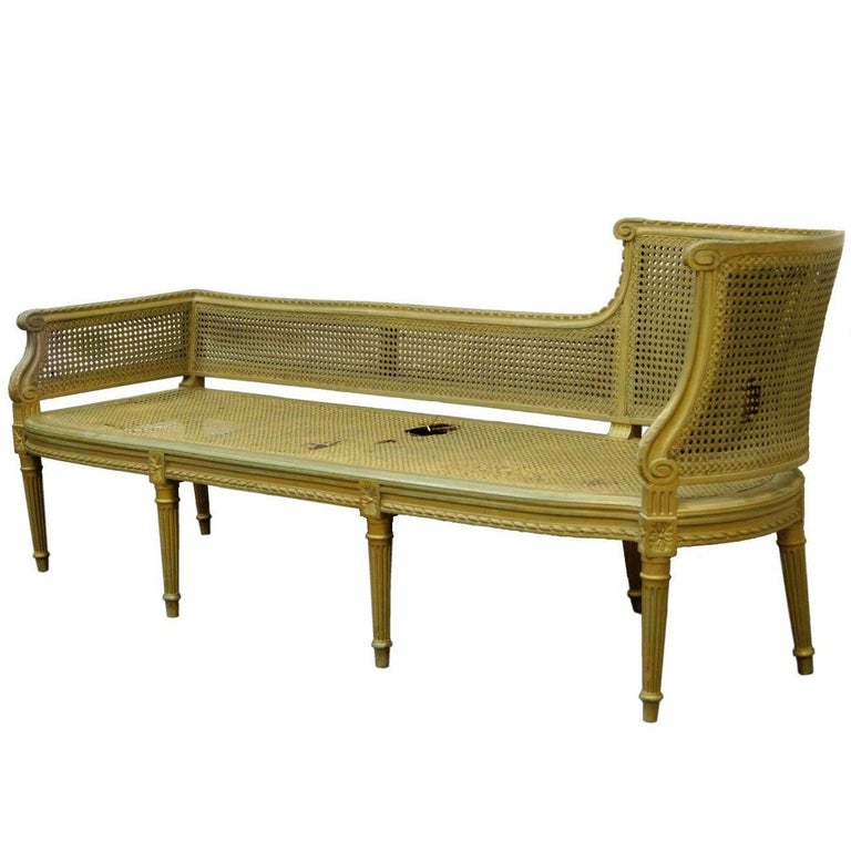 Antique Sofa Chaise Lounge: Antique French Louis XVI Style Caned Chaise Lounge