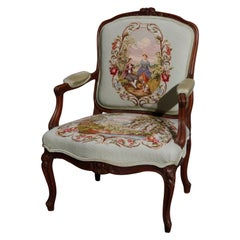 Antique French Louis XVI Style Carved Fruitwood & Needlepoint Armchair