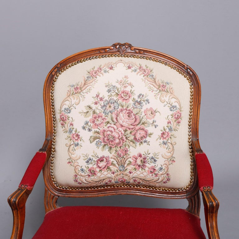 Antique French Louis XVI Style Carved Fruitwood & Tapestry Armchair 20th Century In Good Condition For Sale In Big Flats, NY