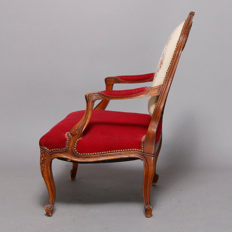 Antique French Louis XVI Style Carved Fruitwood & Tapestry Armchair 20th Century For Sale 2