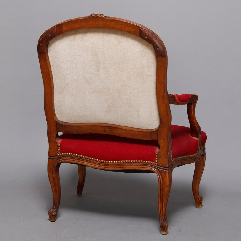 Antique French Louis XVI Style Carved Fruitwood & Tapestry Armchair 20th Century For Sale 4