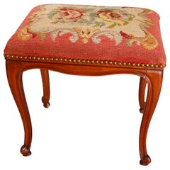 Antique French Louis XVI Style Carved Walnut & Needlepoint Foot Stool circa 1900