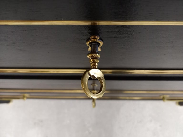 Antique French Louis XVI Chest of Drawers Commode Carrara Marble, Bronze & Brass For Sale 7