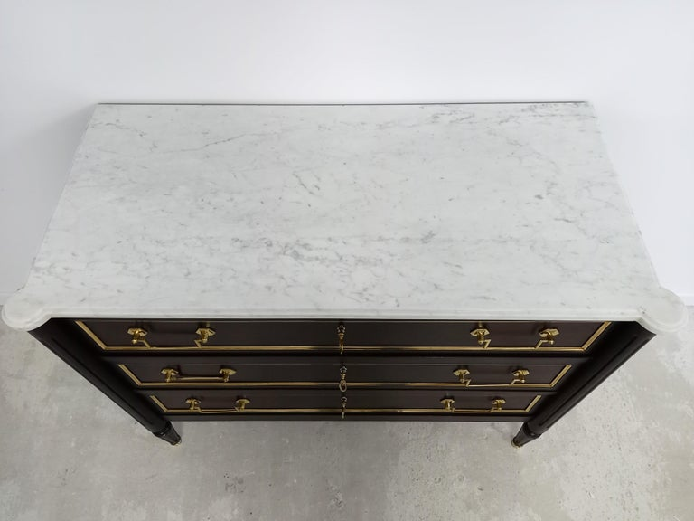 Antique French Louis XVI Chest of Drawers Commode Carrara Marble, Bronze & Brass For Sale 8