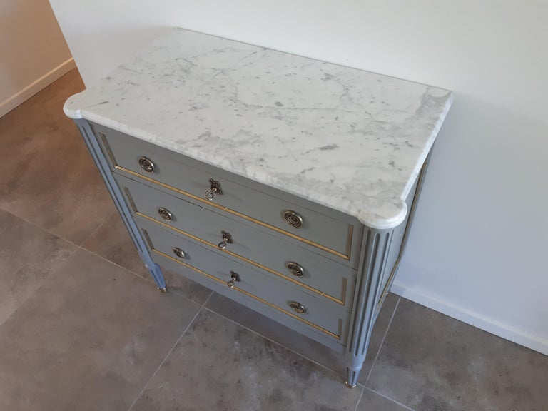 Carrara Marble Antique French, Louis XVI Style Chest of Drawers Commode For Sale