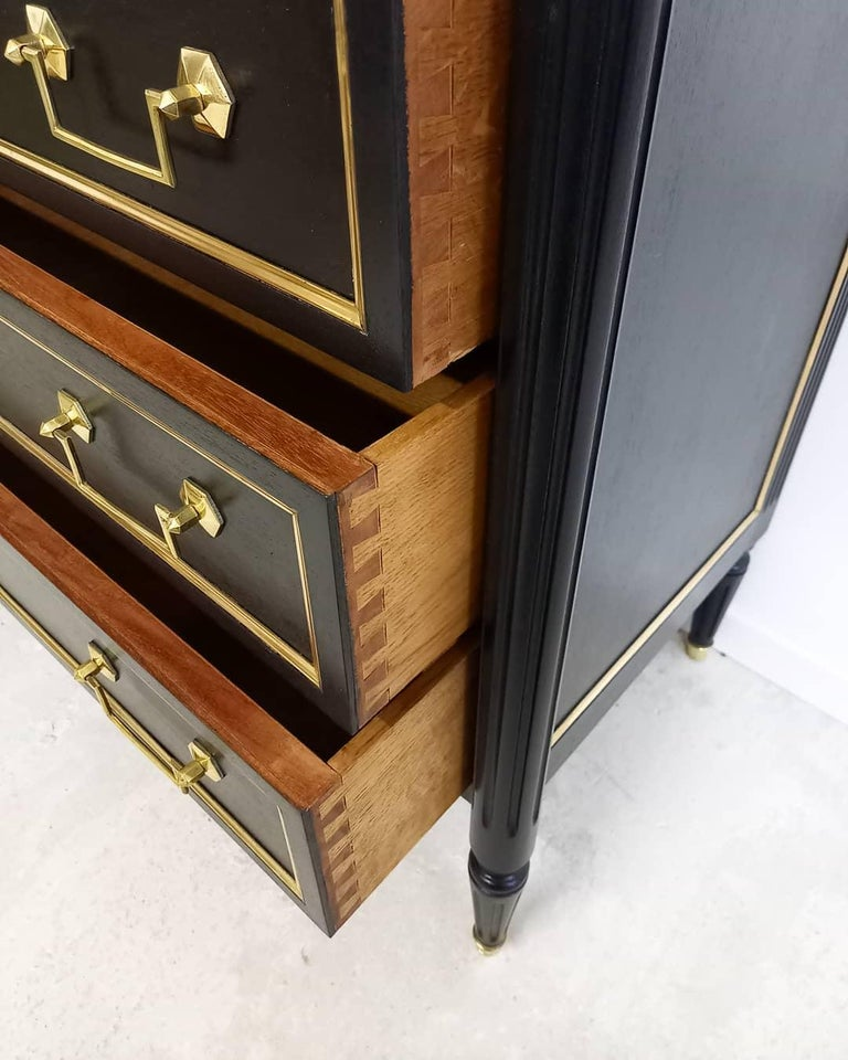Antique French Louis XVI Chest of Drawers Commode Carrara Marble, Bronze & Brass For Sale 4