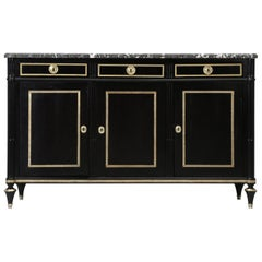 Antique French Louis XVI Style Ebonized Buffet, with a Grey Marble Top