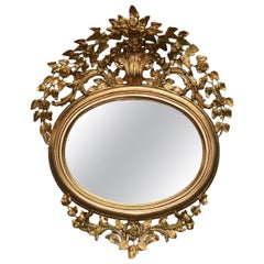 Antique French Louis XVI Style Foliate Giltwood Wall Mirror, circa 1890