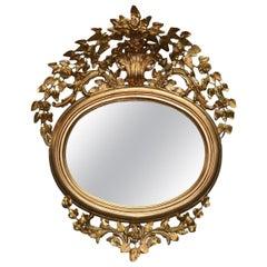 Antique French Louis XVI Style Foliate Giltwood Wall Mirror, circa 1890