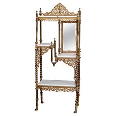 Antique French Louis XVI Style Gilt Bronze and Marble Mirrored Étagère