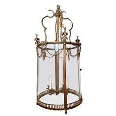 Antique French Louis XVI Style Gold Bronze Lantern, Circa 1890-1910.