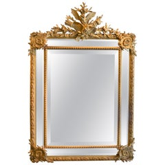 Antique French Louis XVI Style Gold Leaf Beveled Mirror