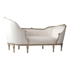 Antique French Louis XVI Style Gondola Chaise Lounge with Giltwood Frame