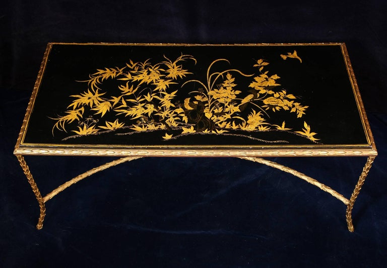 Antique French Louis XVI Style Lacquered Top Gilt Bronze Coffee Table In Fair Condition For Sale In New York, NY