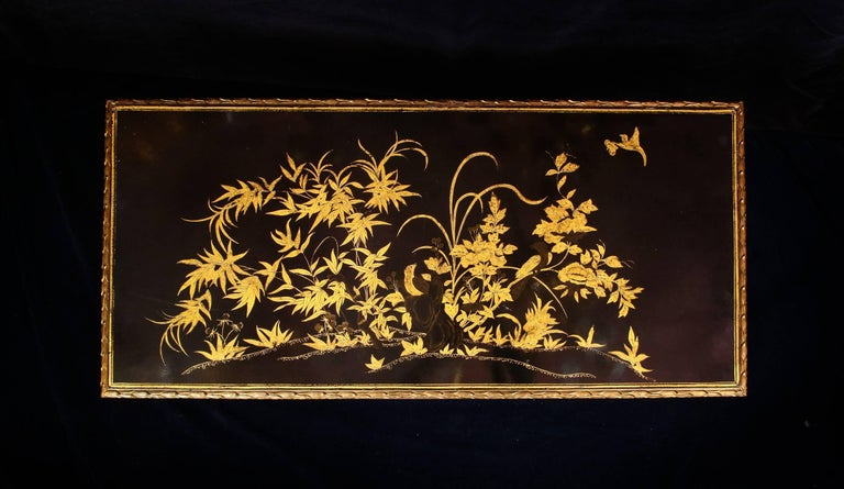 20th Century Antique French Louis XVI Style Lacquered Top Gilt Bronze Coffee Table For Sale