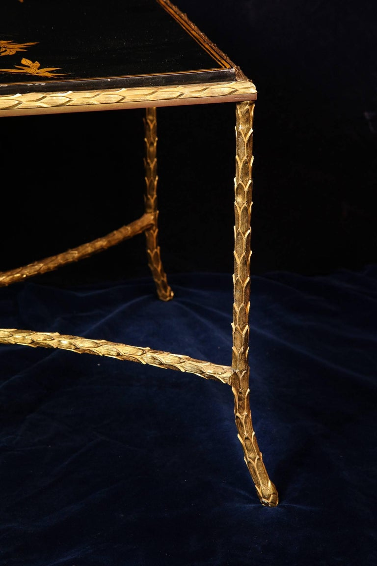 Antique French Louis XVI Style Lacquered Top Gilt Bronze Coffee Table For Sale 2