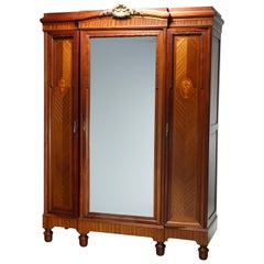 Antique French Louis XVI Style Mahogany, Rosewood & Satinwood Marquetry Armoire