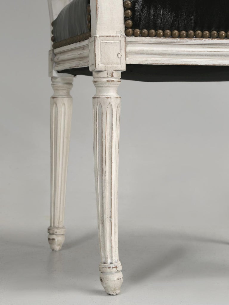 Antique French Louis XVI Style Side Chairs in Distressed Paint and Black Leather For Sale 5