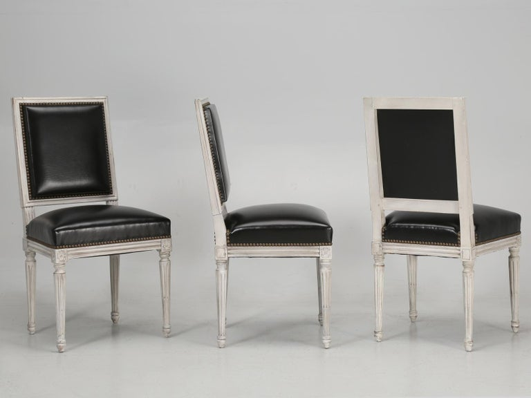Antique French Louis XVI Style Side Chairs in Distressed Paint and Black Leather For Sale 6