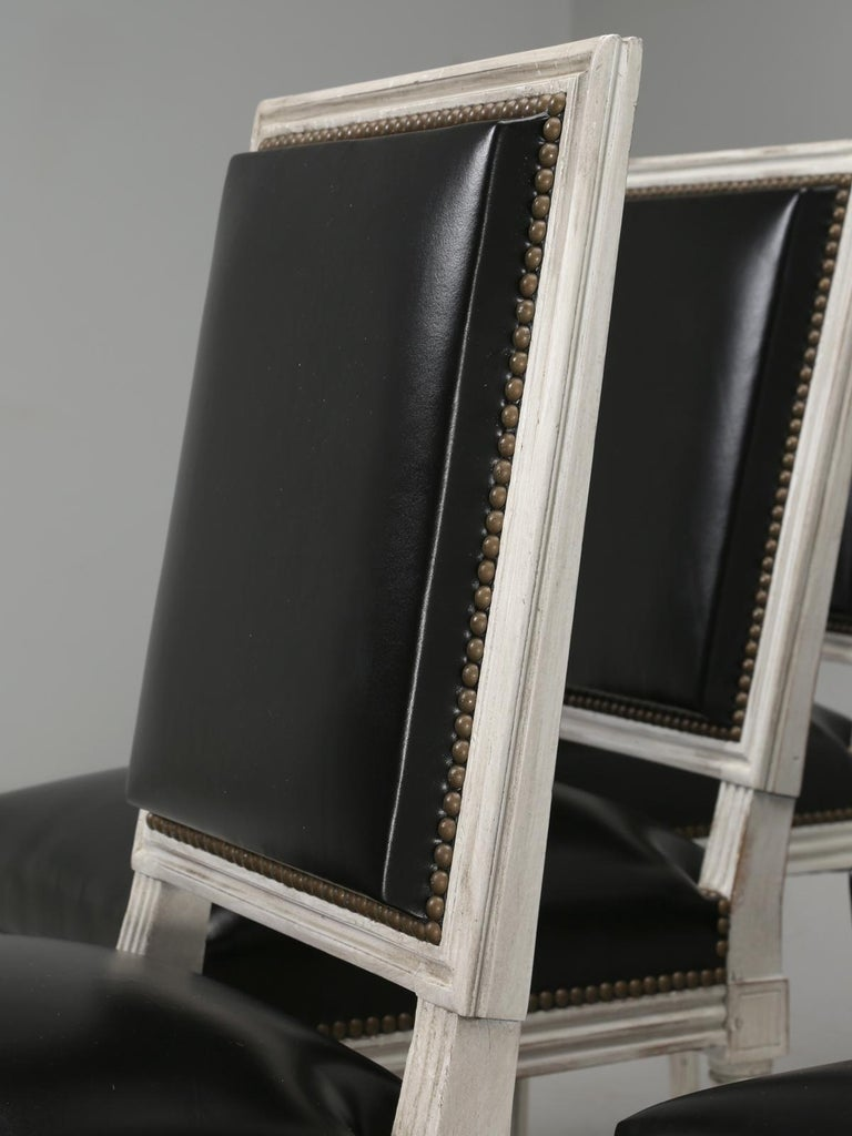 Mid-20th Century Antique French Louis XVI Style Side Chairs in Distressed Paint and Black Leather For Sale