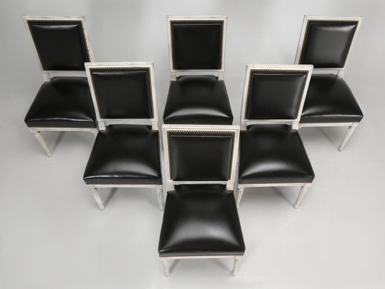 Beech Antique French Louis XVI Style Side Chairs in Distressed Paint and Black Leather For Sale