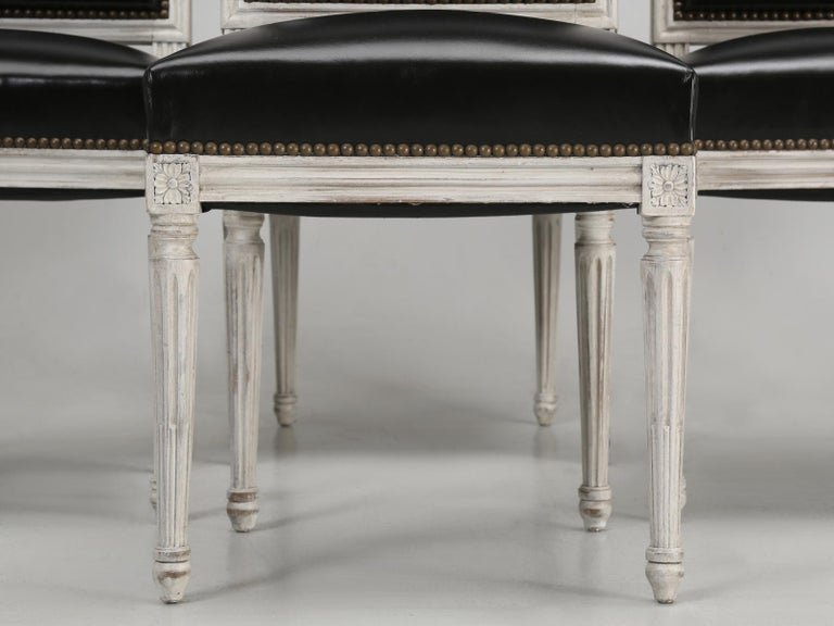 Antique French Louis XVI Style Side Chairs in Distressed Paint and Black Leather For Sale 1