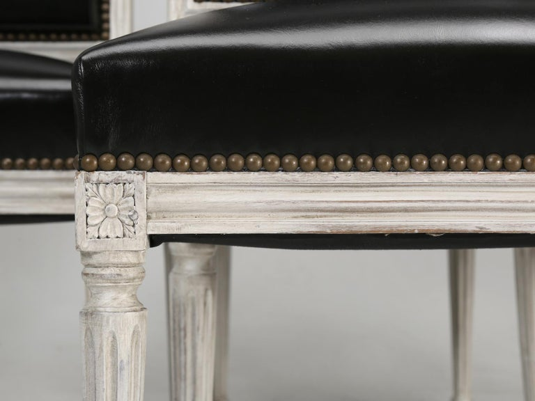 Antique French Louis XVI Style Side Chairs in Distressed Paint and Black Leather For Sale 2
