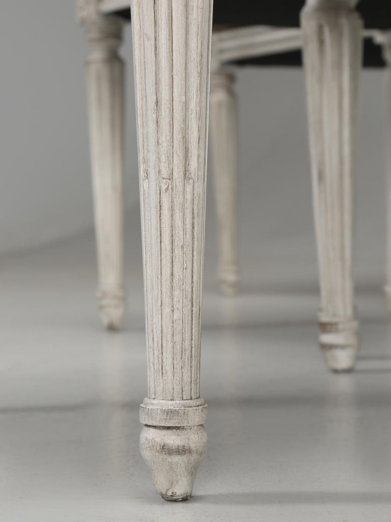 Antique French Louis XVI Style Side Chairs in Distressed Paint and Black Leather For Sale 4