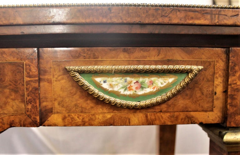 Antique French Louis XVI Styled Games Table with Sevres Styled Porcelain Plaques For Sale 7