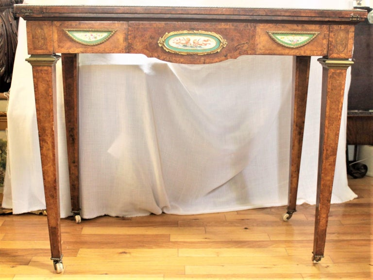 Hand-Crafted Antique French Louis XVI Styled Games Table with Sevres Styled Porcelain Plaques For Sale