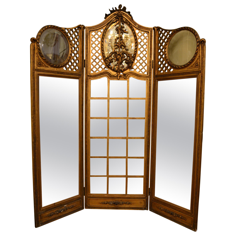 Antique French Louis XVI Three-Panel Screen