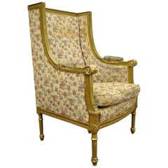 Antique French Louis XVI Victorian Gold Giltwood Wing Back Bergere Armchair