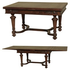 Antique French Louis XVI Walnut Draw Leaf Dining Table