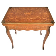 Antique French Louis XVI Walnut Fruitwood Inlaid Ormolu Card Games Table, 1880