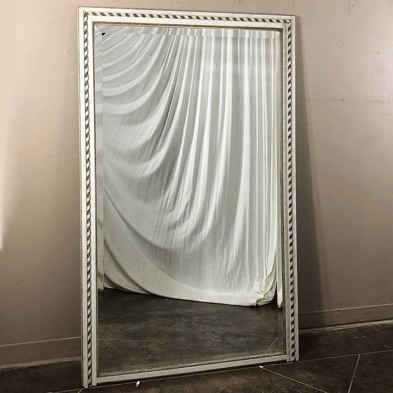 Antique French Louis XVI White Painted Bevelled Mirror For