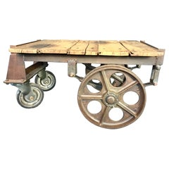 Antique French Luggage Trolley Coffee Table