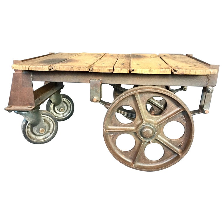 Trolley Coffee Table.Antique French Luggage Trolley Coffee Table