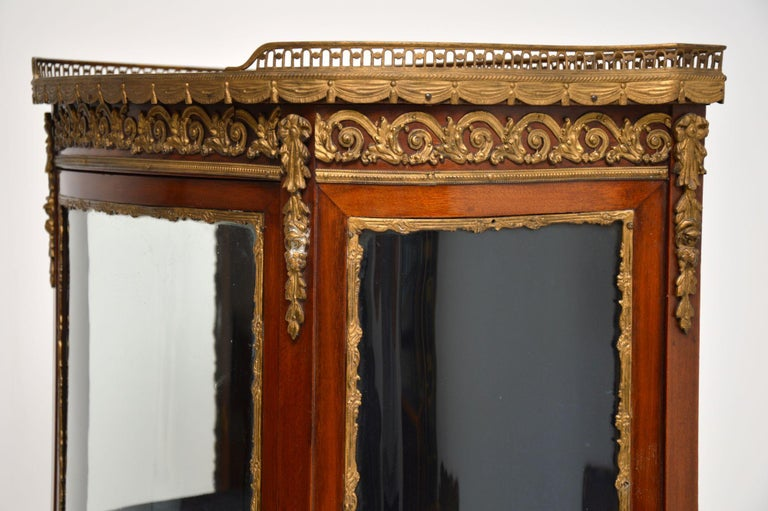 Antique French Mahogany and Marble Display Cabinet Vitrine For Sale 5
