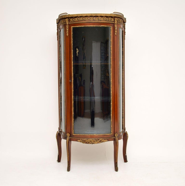 Louis XV Antique French Mahogany and Marble Display Cabinet Vitrine For Sale