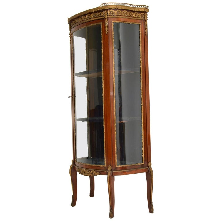 Antique French Mahogany and Marble Display Cabinet Vitrine In Good Condition For Sale In London, GB